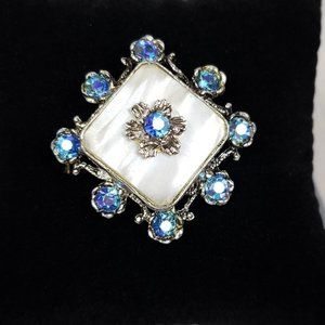 Vintage Hollywood Moonstone Brooch Silver Blue
